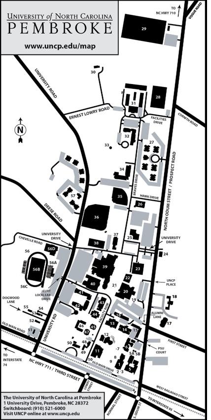 Campus Map   UNC Pembroke   Acalog ACMS™